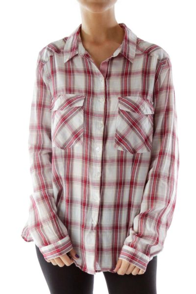 Red and Beige Plaid Button Down