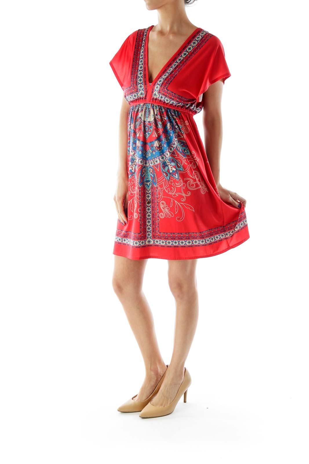 Red Multicolor Printed V-Neck Dress