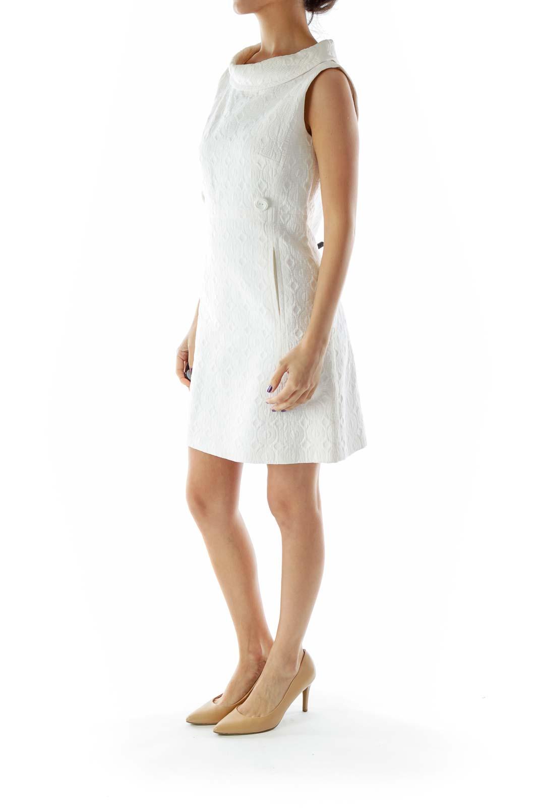 Off White Textured Work Dress