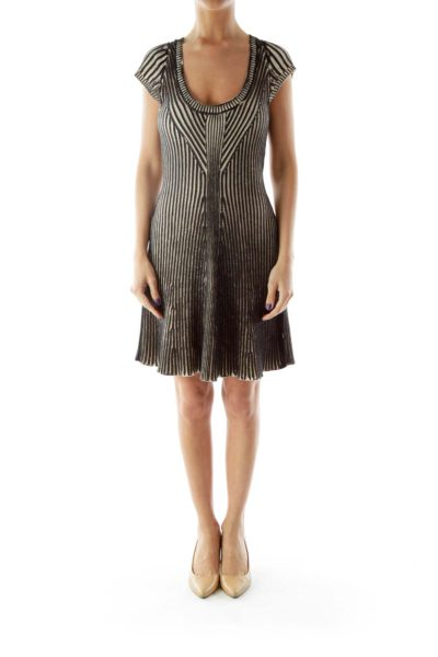 Black Beige Knit Pleated Dress