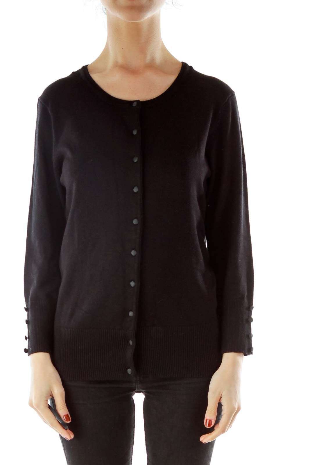 Black Buttoned Cardigan