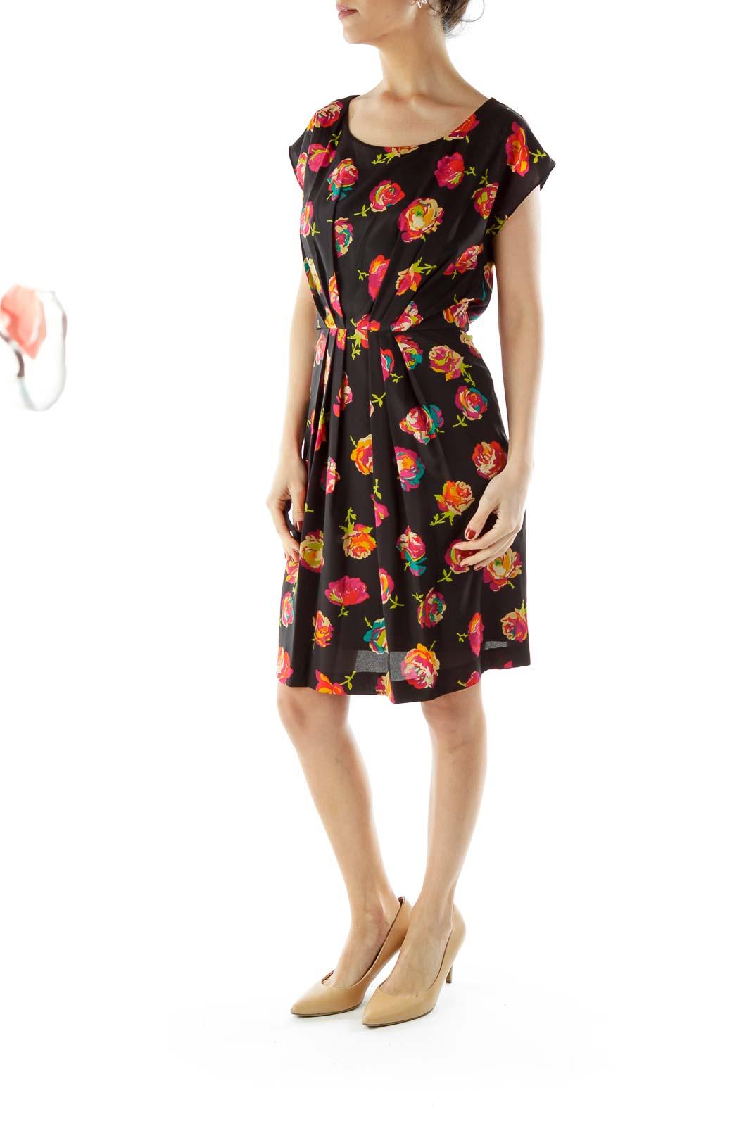 Black Floral Print Day Dress