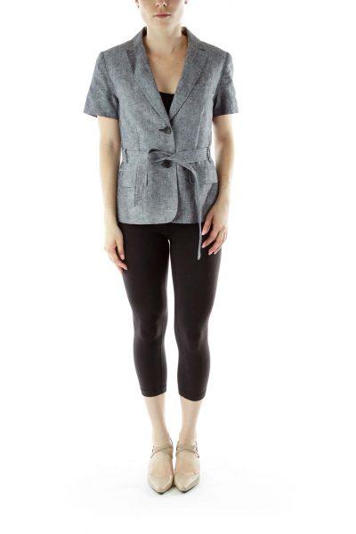 Gray Short Sleeve Blazer