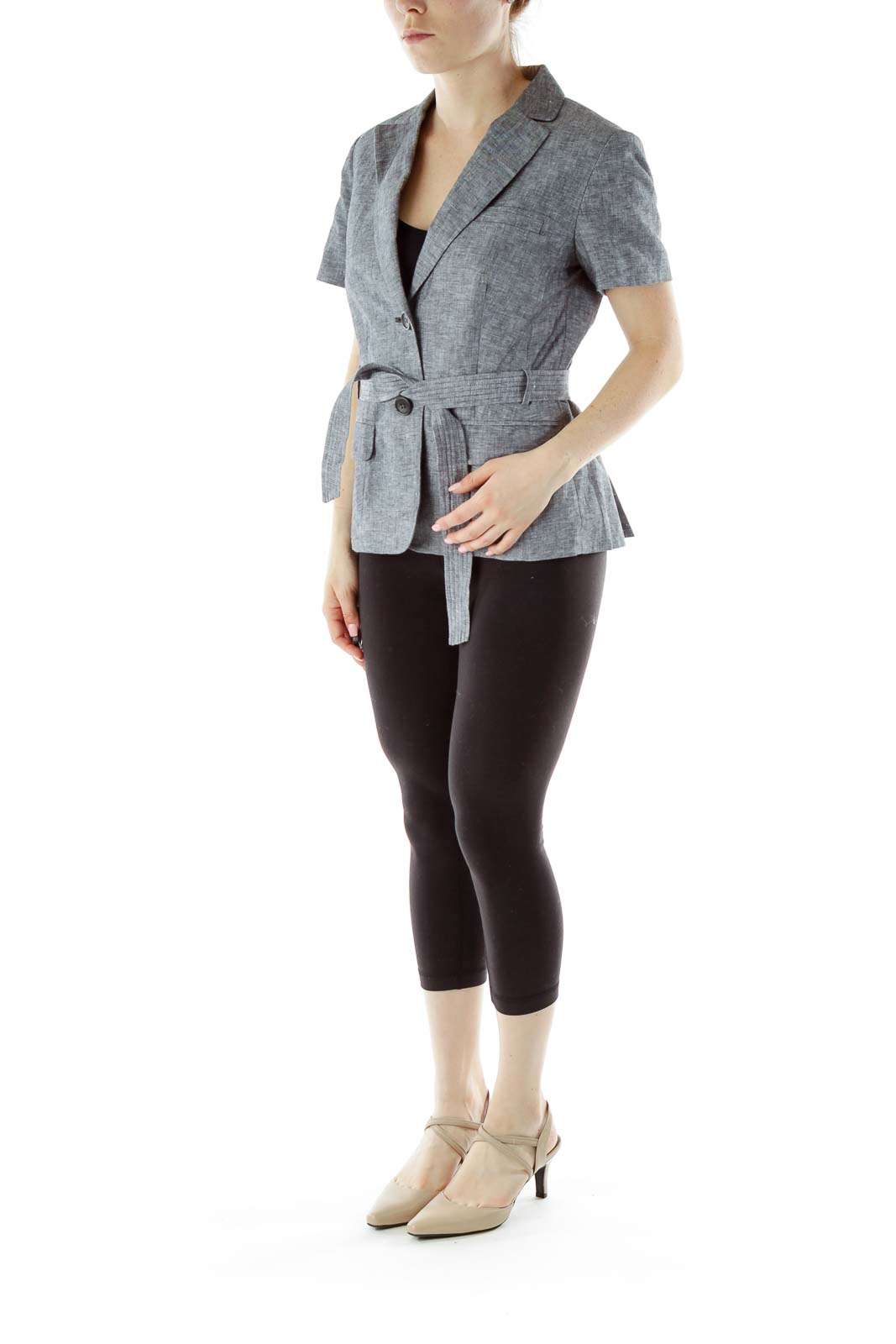 Gray Short Sleeve Blazer