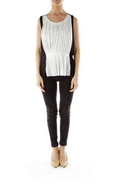 Black White Round Neck Flared Shirt