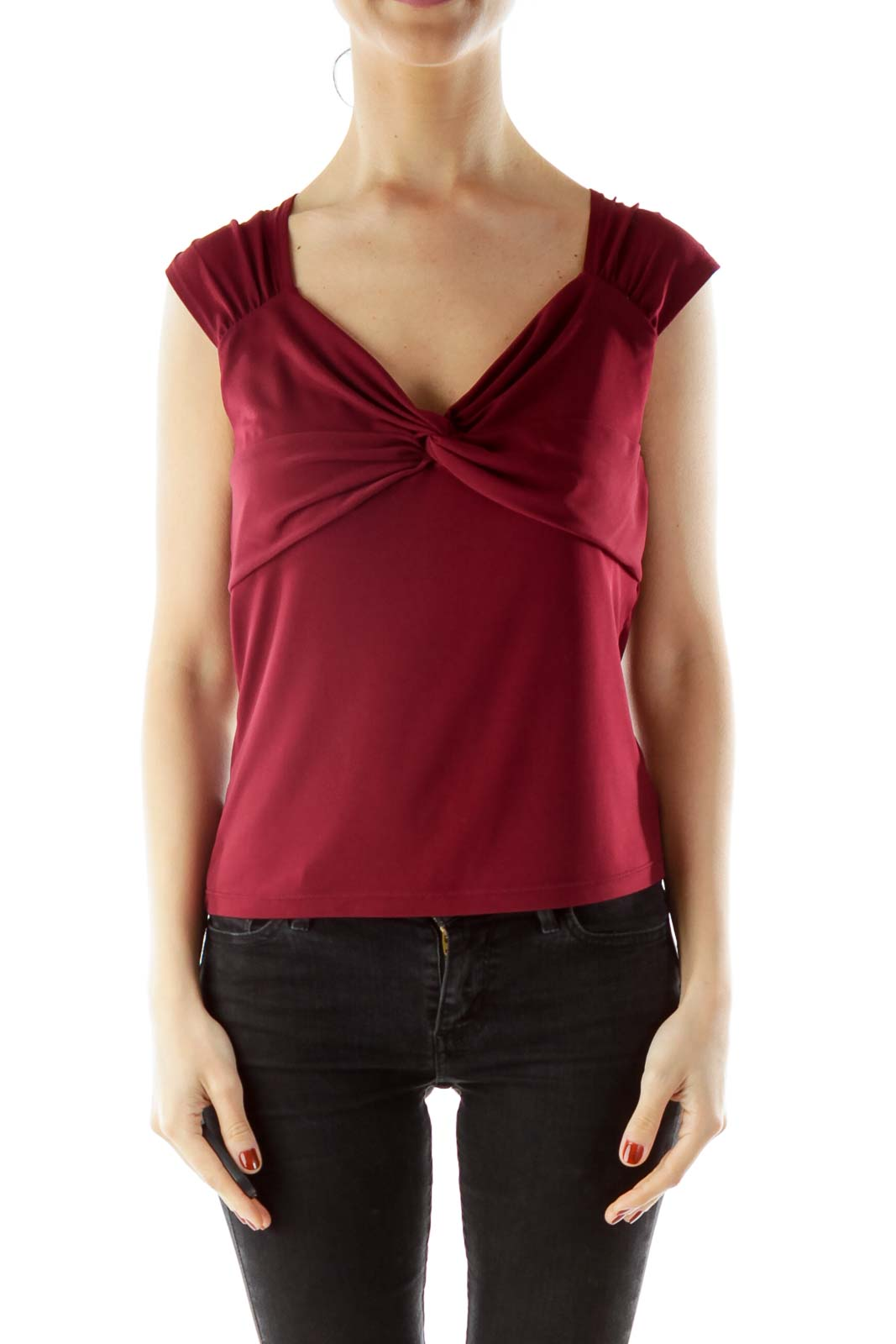 Maroon V-Neck Blouse