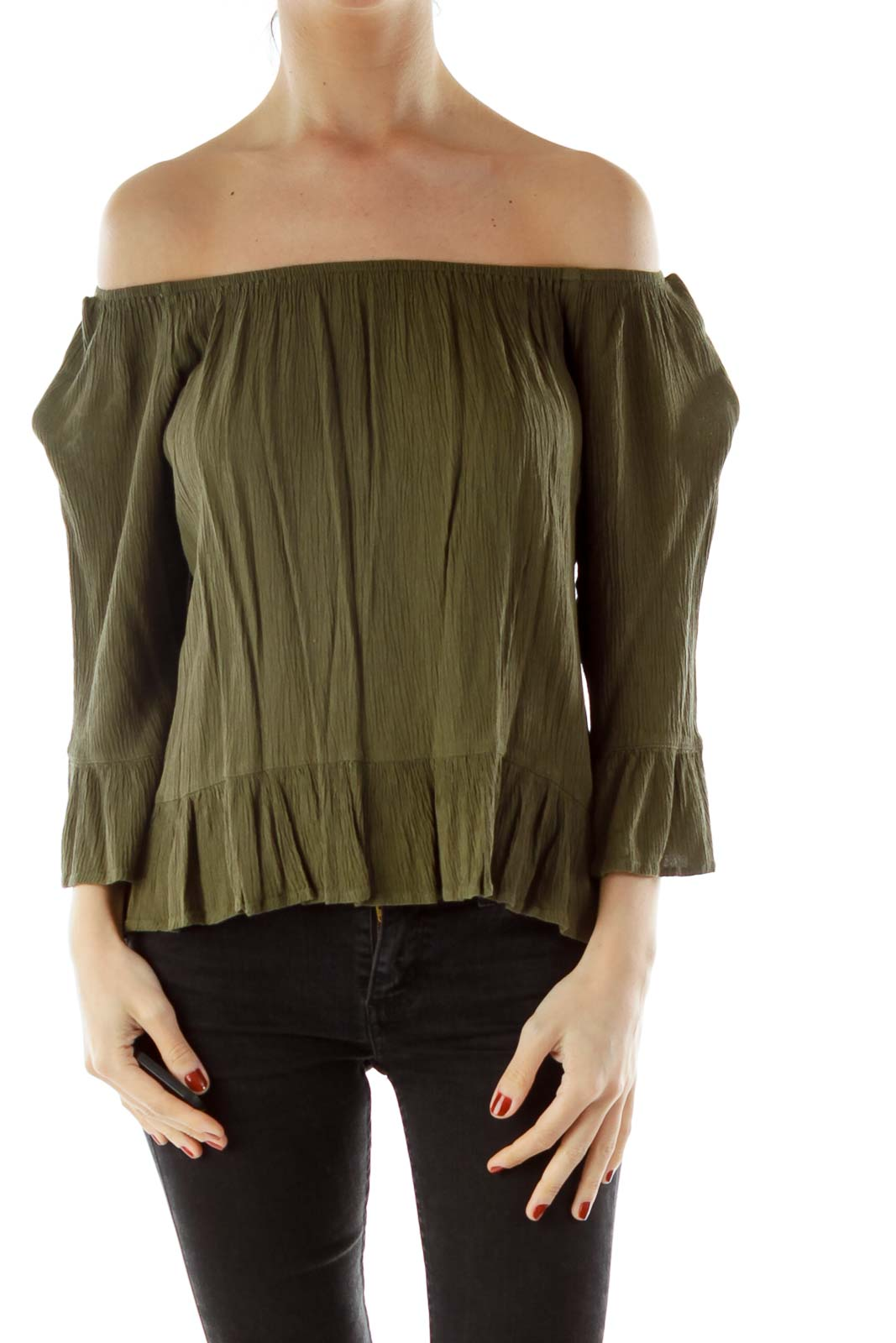 Green Off-Shoulder Bell Sleeve Top