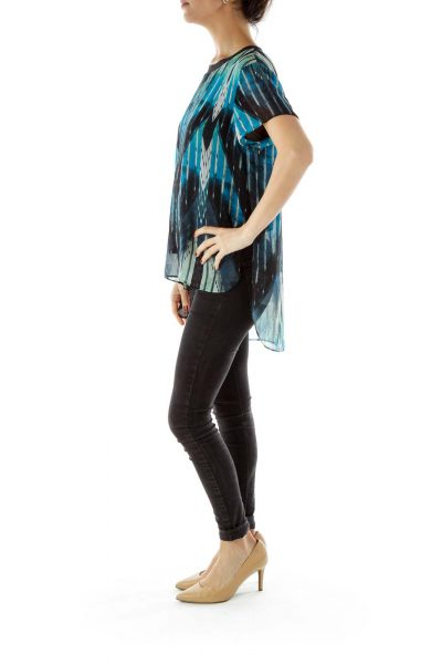 Black Round Neck Blue Print Flared Blouse
