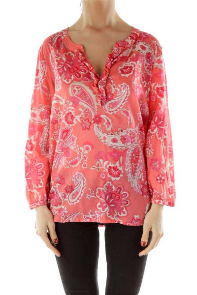 Red Floral Print V-neck Shirt