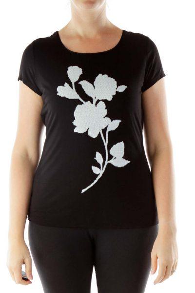 Black White Sequined T-Shirt