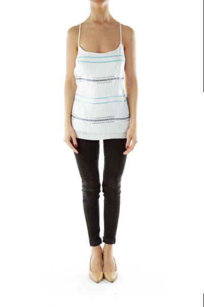 White Blue Sequined Tank Top