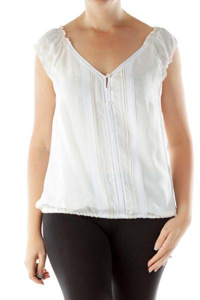 White Crocheted Silk Blouse
