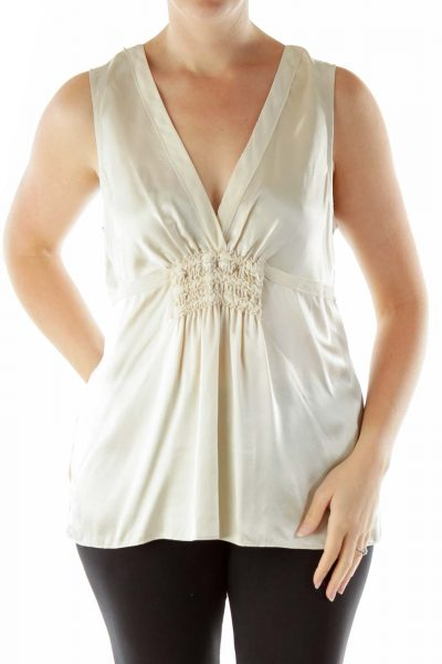 Gold V-Neck Sleeveless Blouse