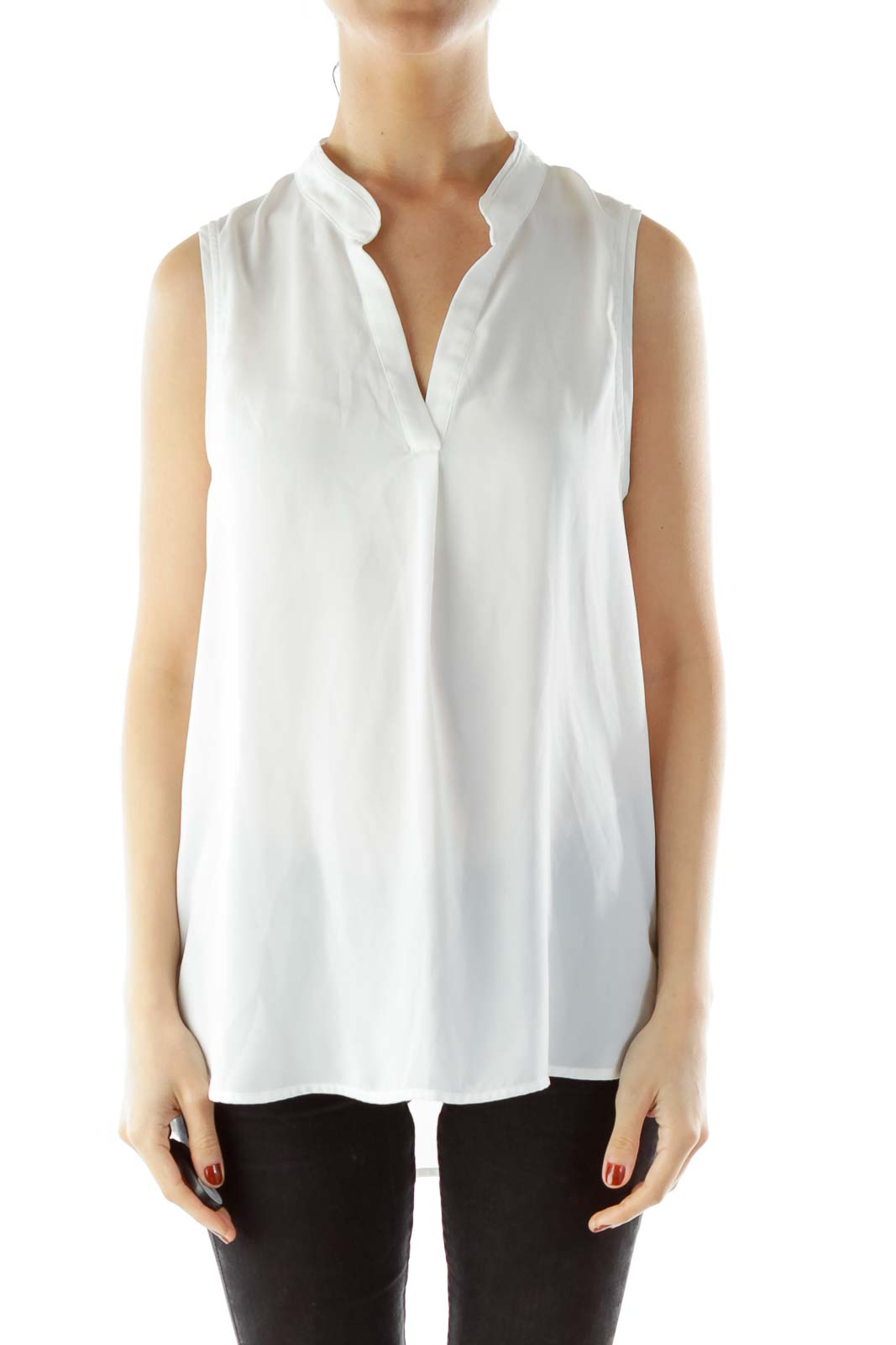 a2bef7d9ef048 Shop White Collared Sleeveless V-neck Blouse clothing and handbags ...