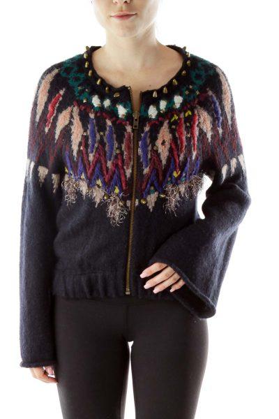 Navy Crocheted Sweater