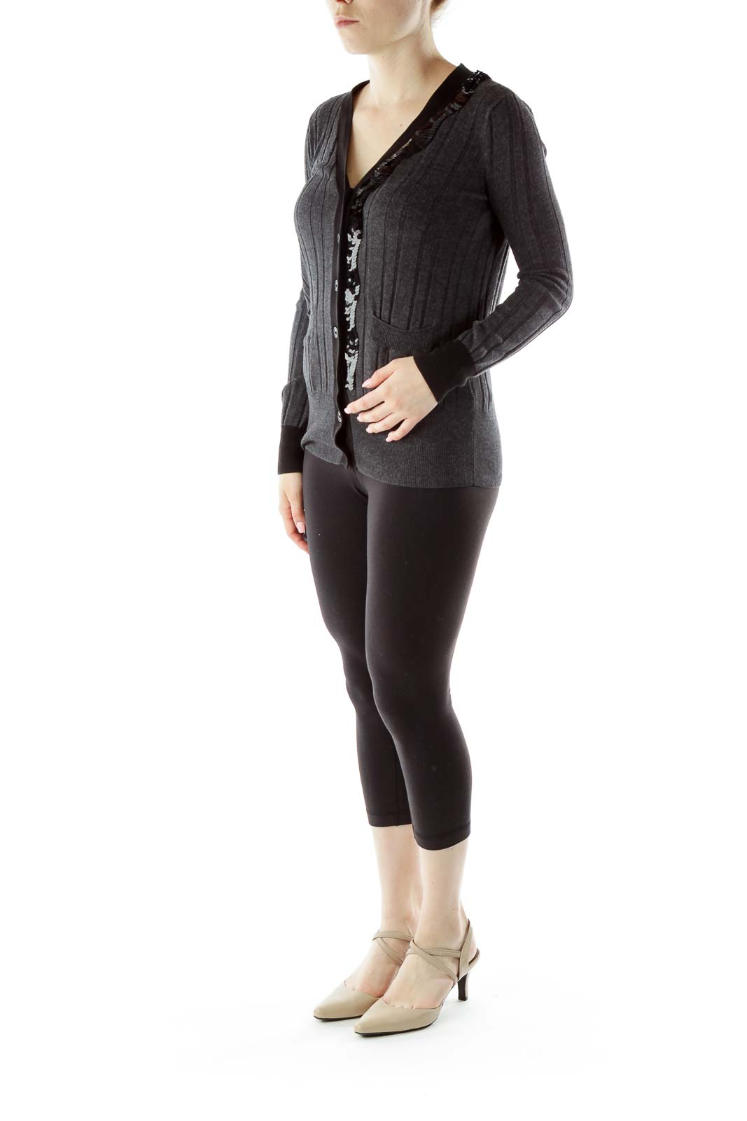Gray Knit Sequined Cardigan