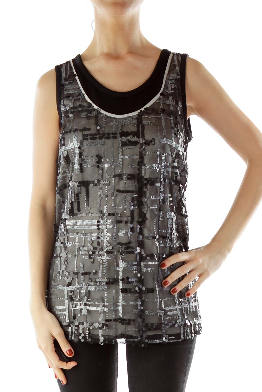 Black Gray Sequined Tank Top
