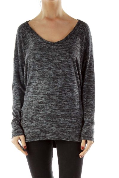 Gray Long-Sleeve V-neck Shirt