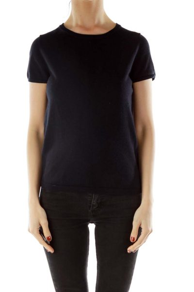 Navy Knit Short Sleeve Shirt