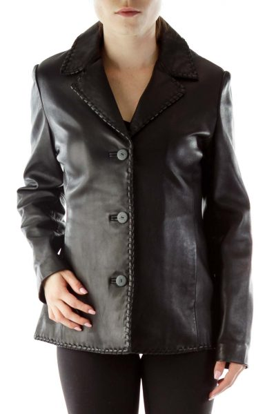 Leather Jacket with Stitched Lining