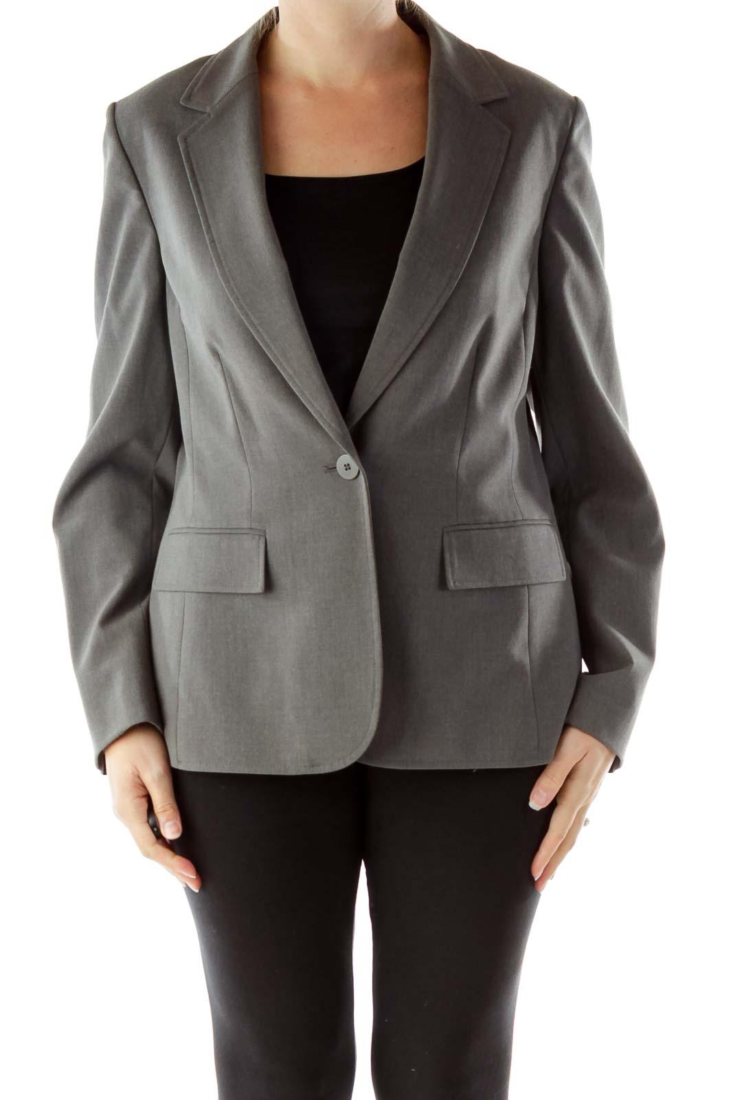 Gray Buttoned Blazer
