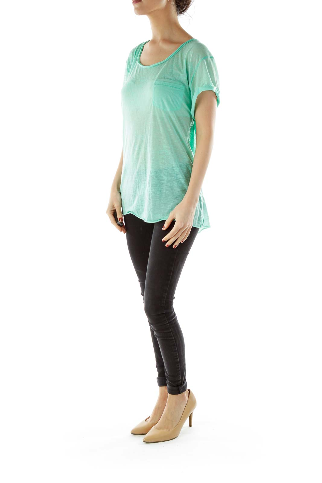 Green Round Neck Pocketed T-shirt