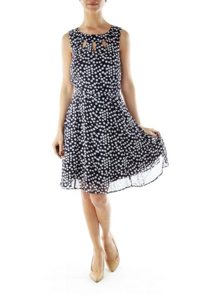 Navy Polka Dot Sleeveless Dress