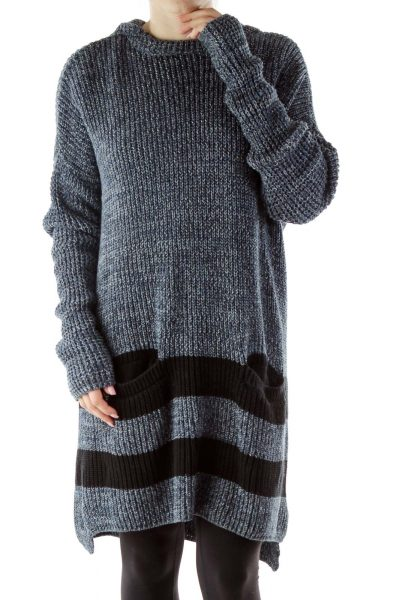 Navy Hooded Knit Dress