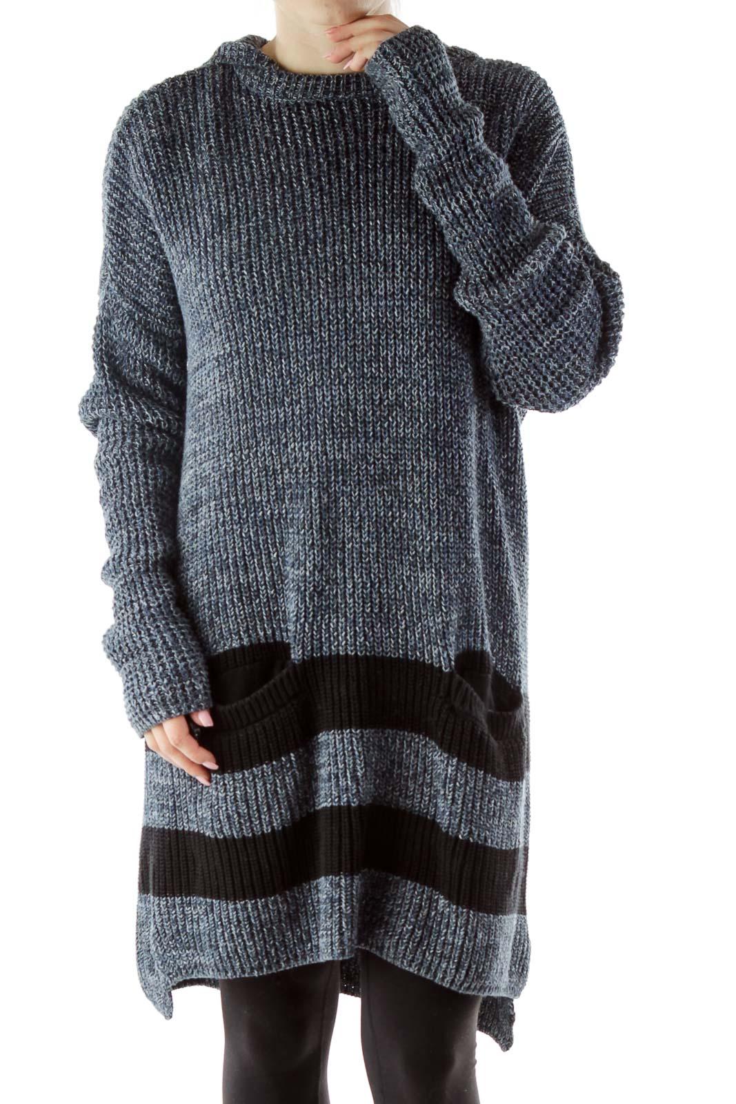 Navy Hooded Knit Dress