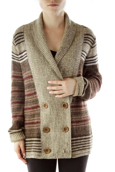 Brown Buttoned Cardigan