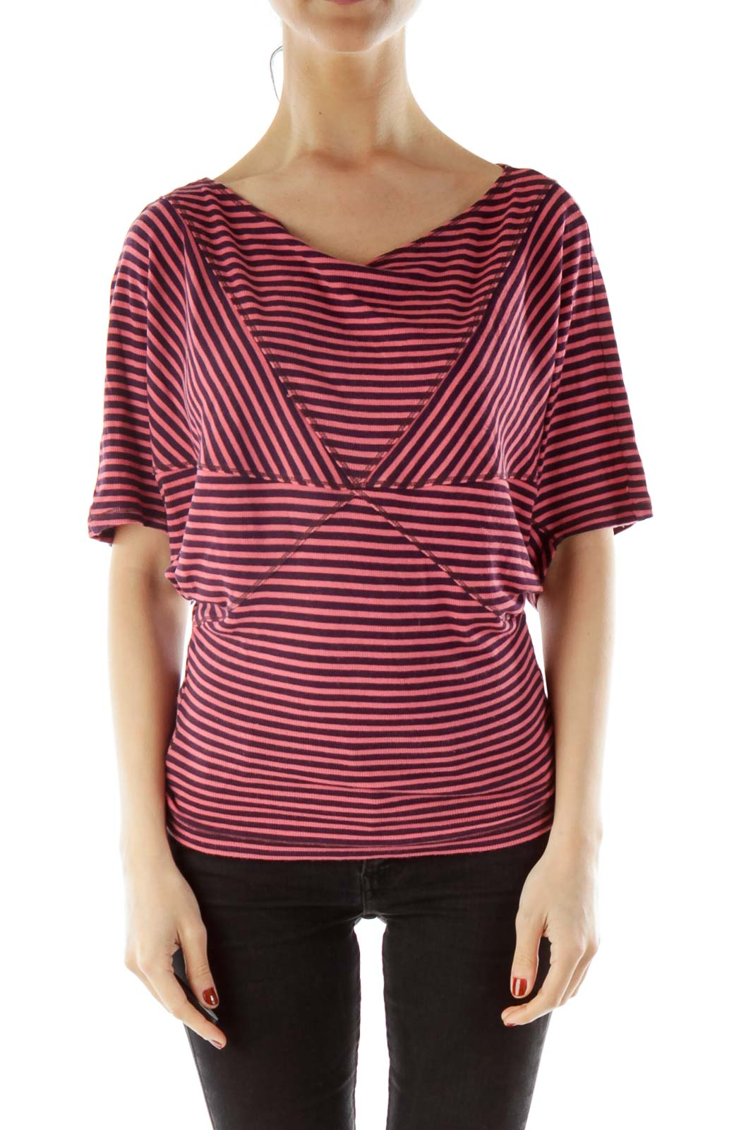 Pink Purple Striped Blouse