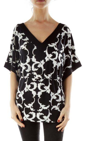 Black White Toile Print Blouse