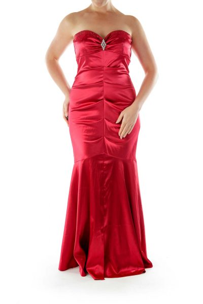 Red Evening Dress with Gem Stones