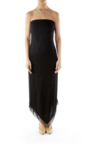 Black Dress with Beaded Fringe