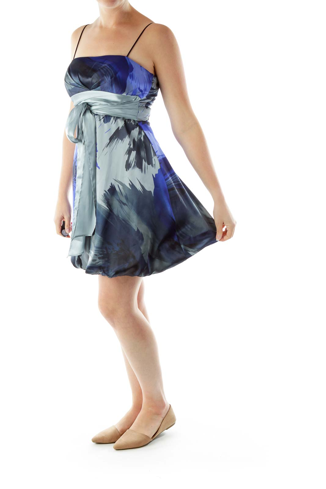 Gray Blue Printed Satin Dress