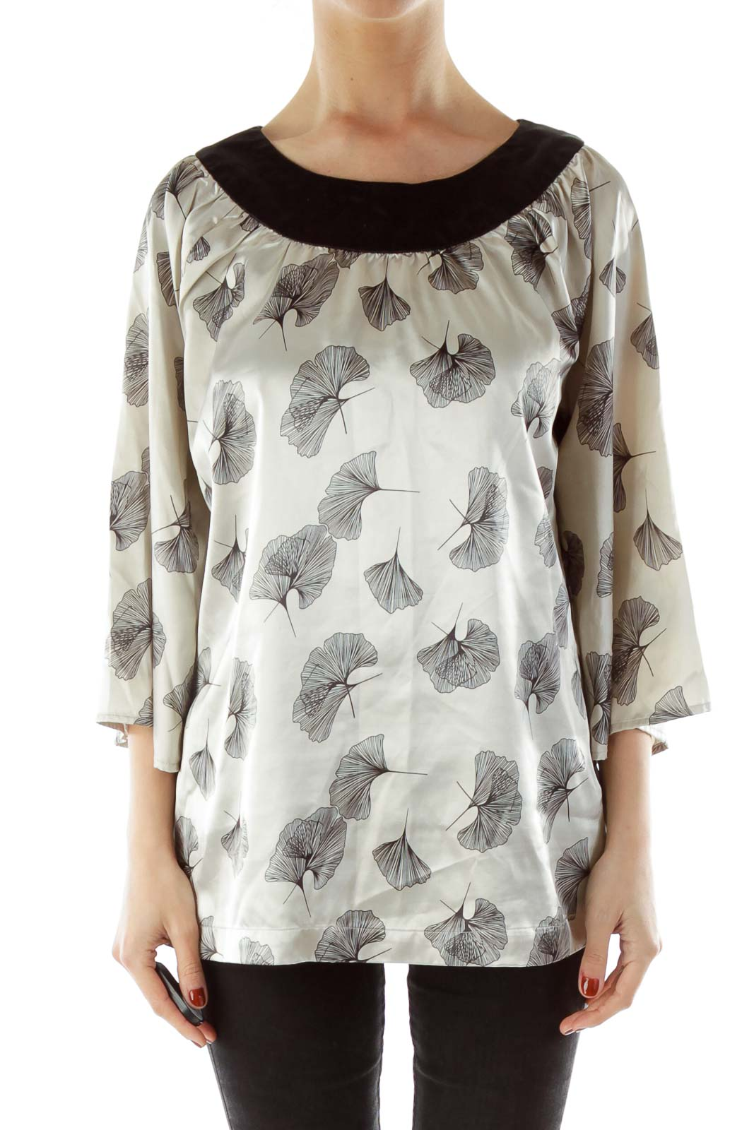 Gray Satin Printed Blouse