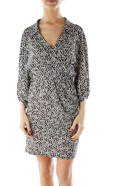 Black White Print Wrap Dress