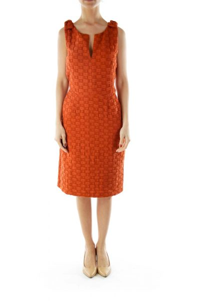 Orange Sleeveless Pencil Work Dress