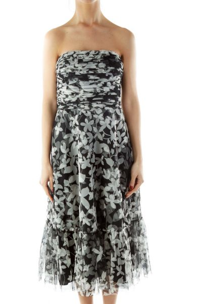 Black White Strapless Print Cocktail Dress