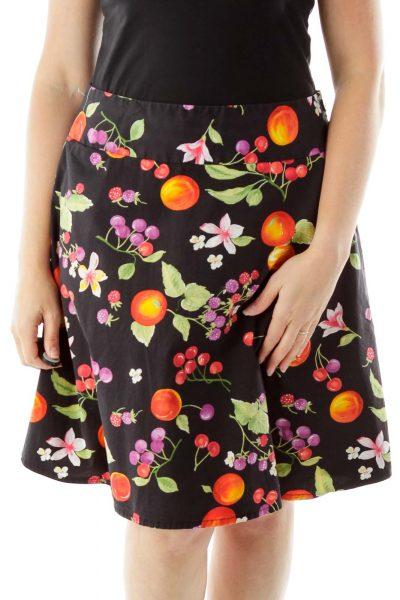 Black Fruit Print Skirt