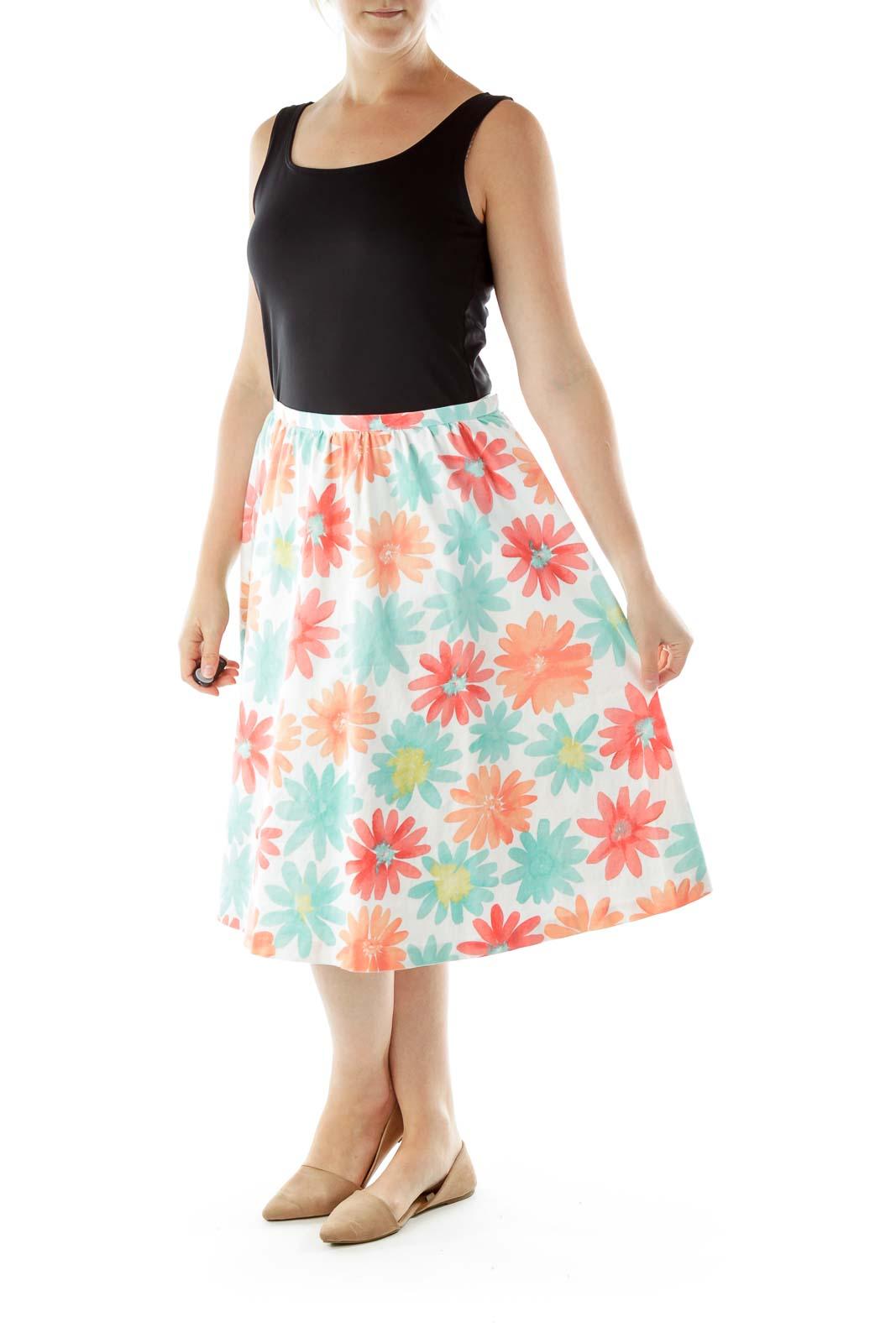 White Pink Flower Print Skirt
