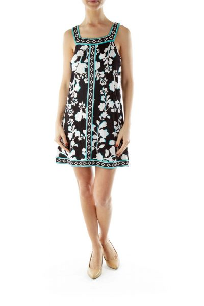 Black White Printed Day Dress