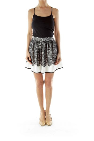 White Black Lace Flared Skirt