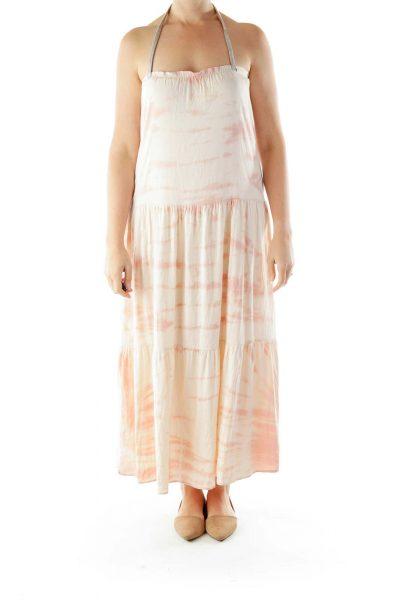 Pink White Tie Dye Maxi Dress