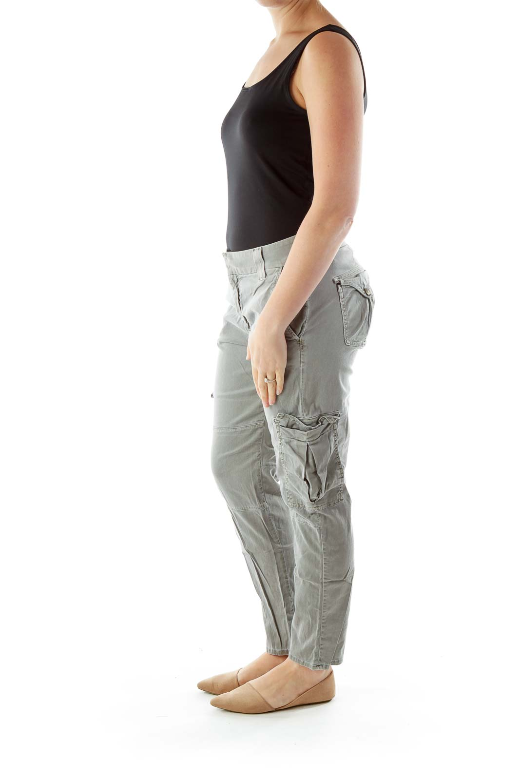 Gray Cargo Skinny Jeans