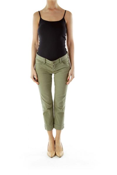 Green Cropped Denim Jeans