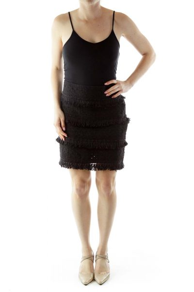 Black Eyelet Mini Skirt