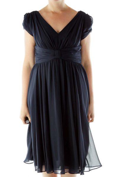 Navy Off-Shoulder Evening Dress