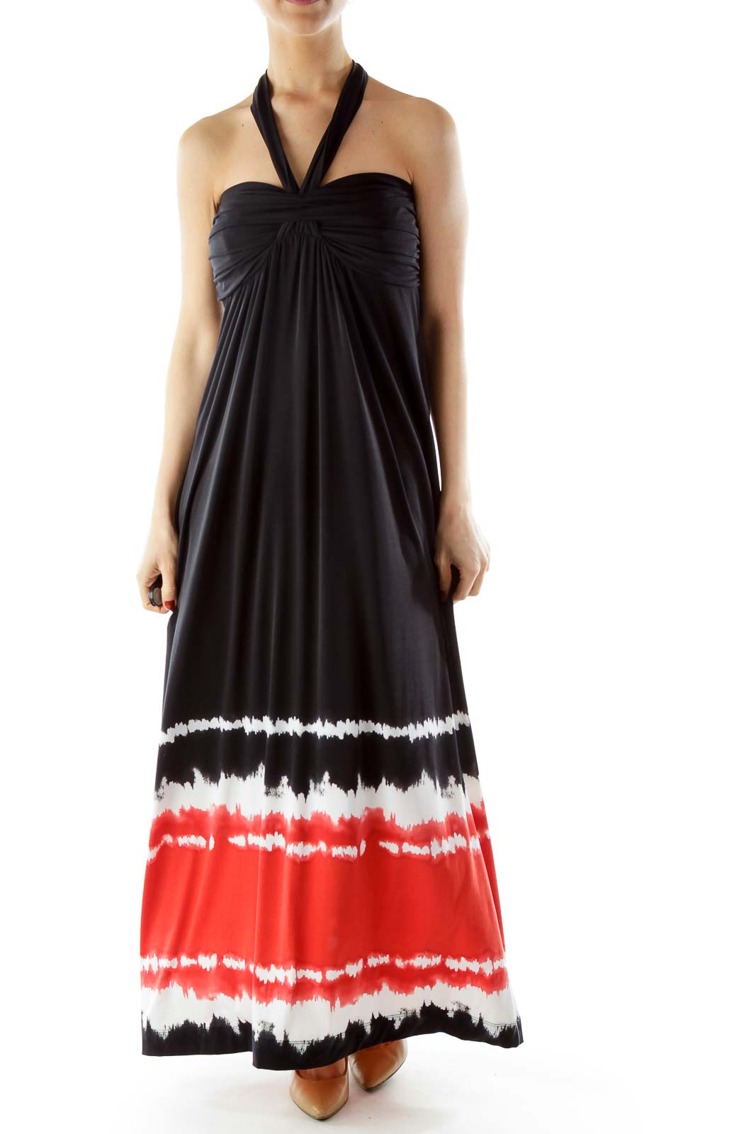 Black Red White Tie Dye Maxi Dress