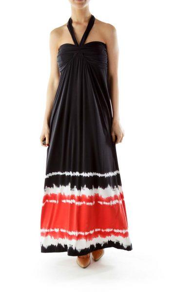 Black Red White Tie Dye Maxi Dress